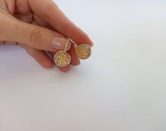 SALE Druzy dangle earrings / Druzy earrings / Round druzy earrings / 12 mm druzy dangle earrings / Yellow druzy dangle earrings