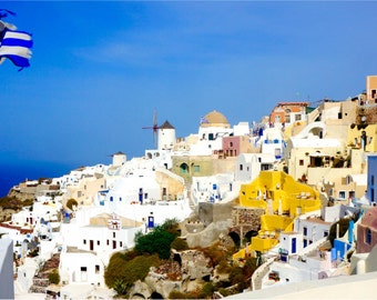 Oia Print, Santorini, Greece Photography, Fine Art Photography, Large Wall Art, Travel Photography, Original Photographs, Greek Flag - Oia