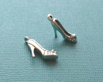 10 High Heel Shoe Charms Silver - CS2547