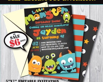 Self-Editing Monster Birthday Invitation-Printable Monster Party Invite-First Birthday Monster Bash-Any Age Monster Party-A110