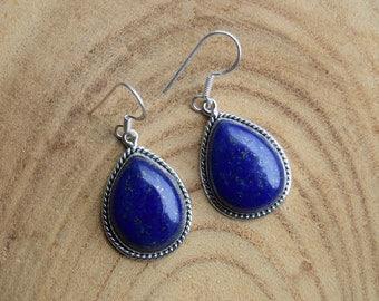 Lapis Lazuli Earrings, Sterling Silver Earrings, Boho Earrings, Handmade Jewelry, Blue Gemstone Earrings, Lapis Jewelry, Gift for women