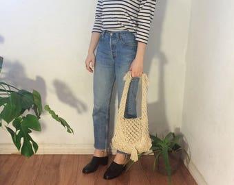 Vintage 70's   Handmade off white cotton macrame bag / cream tassel shoulder bag / crochet fringe purse