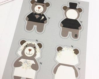 Wedding Topper, Bear Topper- Bride and Groom Bear Topper, Wedding Decorating Ideas.