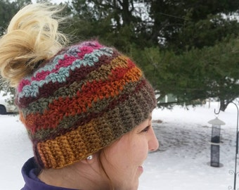 Handmade Crochet Ponytail Hat, Perfect for a Messy Bun- Many Colors/Sizes Available!