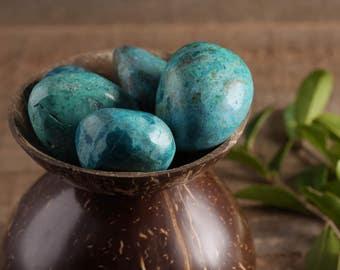 One Small CHRYSOCOLLA Stone - Tumbled Stone, Healing Stone, Chakra Crystal, Chrysocolla Jewelry, Chrysocolla Pendant, Chakra Stone E0230