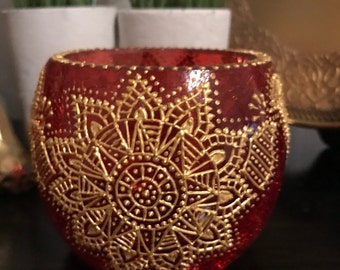 Hand Painted Red & Gold Candle Holder