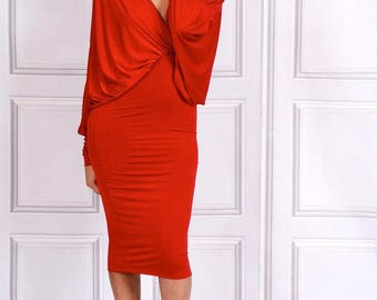 Lea-  Deep V-Neck Batwing Midi Dress - Red
