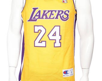 Rare Vintage Champion Kobe Bryant #24  Yellow | Los Angeles Lakers NBA Jersey| Size S