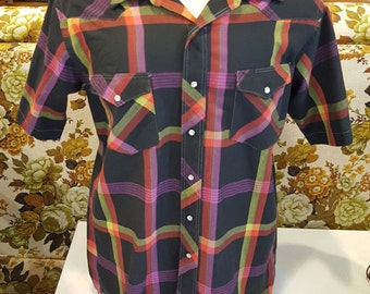 Vintage Men's Wrangler Cowboy Cut Short Sleeve Pearl Snap Plaid Shirt Size 16.5