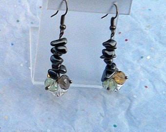 Hematite and Swarovski Faceted Crystal Element Earrings