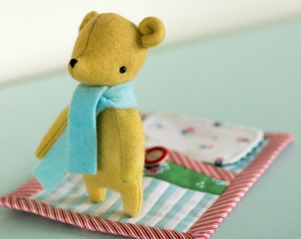 PDF Pattern - 'Goodnight Little Bear' - Felt Bear Softie with Fabric Sleeping Pouch - Instant Digital Download - Plush Children's Toy