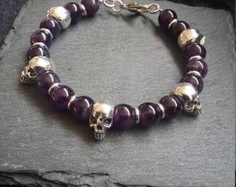 Silver Skull & Purple Amethyst Gemstone Bracelet