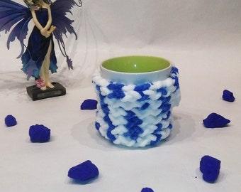 Home gift, Mug cozy, cup cozy, Christmas gift, mug sweater, mug holder, coffee cozy, blu color, white color, perfect gift
