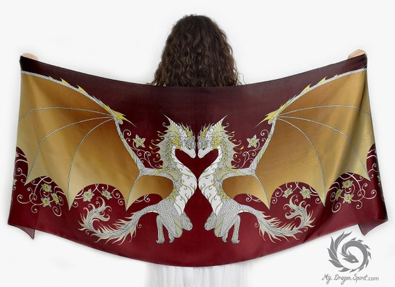 Love Dragons Scarf with Golden Wings