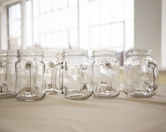 Clear Glass Mason Jars with Handles  | 16. Oz | Plain Drinking Glass Mugs Rustic Country Wedding Bridal Home Kitchen | Qtys 12, 24, 60, 120