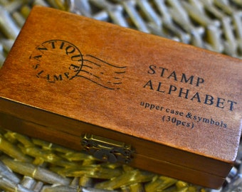 30 pc rubber alphabet stamps/upper case/capital letters & symbols stamps box I Alphabets wooden rubber stamps I Rubber Stamps I Wooden box