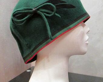 Winter felt hat/Cloche hat/Wool hat/Women's winter hat/Green hat