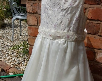 Ivory Pink Lilac flower girl bridesmaid dress