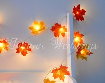 Autumn Fairy Lights 1-10m 'Mixed' - String Lights Autumn Leaves Wedding Decorations LED Garland Battery Operated Leaf Weddings Wedding Decor