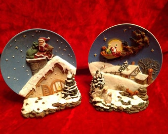 A Christmas Remembered 3D Plates and Base// Forever Christmas Memories//Decorative Plates//Home Decor//Christmas decor
