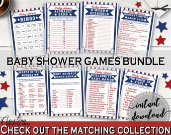 Games Baby Shower Games Baseball Baby Shower Games Baby Shower Baseball Games Blue Red prints, pdf jpg, digital print, party décor YKN4H