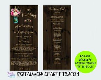 DIY Rustic Wedding Program Template, Floral Boho Mason Jar, DIY Floral Bohemian Wedding, Editable PDF Instant Download,Boho, Country Wedding