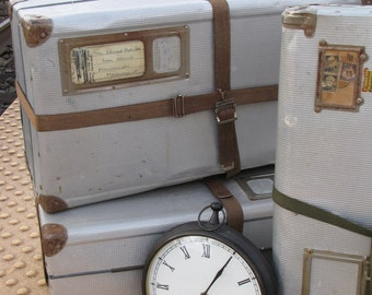 Vintage Aluminum Train Cases/ Robert Frost / Herculean Travel Cases/ Airway Luggage/ Industrial Steampunk