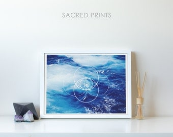 Ocean Waves Digital Print, Blue Waves Poster, Large Ocean Printable, Vesica Piscis Decor, Viking Symbol, Sea Waves Poster, Gift Ideas