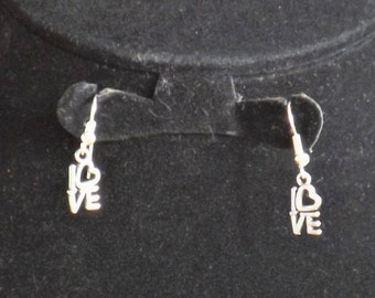 Silver tone love earrings, choice of earring hook, ideal birthday jewellery gift for her, sterling silver earrings