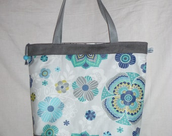 Large bag Tote, fabric coating blue flowers, grey coated linen