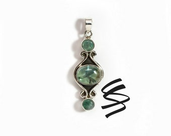 Apatite Pendant Vintage Necklace Green Apatite Jewelry Antique Style Pendant Sterling Silver Necklace Green Semi-Precious Gemstone Natural