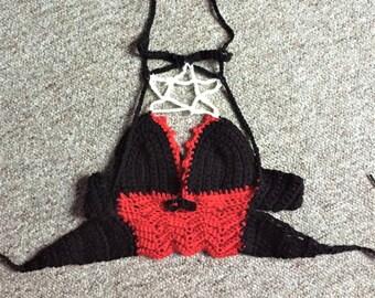 Pentagram Black and Red Choker top