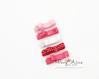 """Baby Hair Bow Set of 5- 1.75"""" Valentine's Day Bows, Girls Hair Bow, Toddler Hair Bow, No Slip Alligator Clip for Baby Girl- Made to Order"""