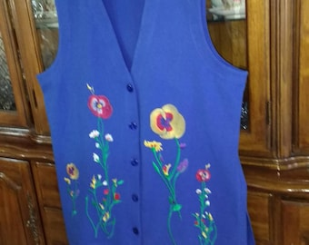 Blue Pant Suit - Saks 5th Ave, SIZE LARGE, vintage