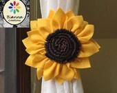 "Sunflower Curtain Tieback, 6"" Gold Brown Black Kanzashi Felt Flower, Floral Holdback Home Decoration, Nature Themed Baby Nursery Room Decor"