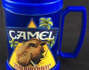 Joe Camel Thermo Serv Insulated Mug - Camel Cigarettes 75th Birthday 90s collectible