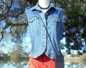 80's Denim Vest, Vintage Vest, Just Jeans Vest, Vintage Ladies Vest, 90's
