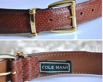 Vintage brown leather belt, Cole Haan belt, 80s / 90s leather belt, gold metal belt buckle, Made in USA