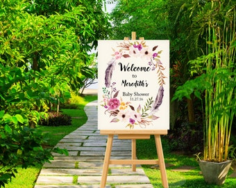 Boho Baby Shower Welcome Sign, Customized Bohemian Large Baby Shower Welcome Poster Sign Personalized Flowers and Feathers Baby Shower Decor