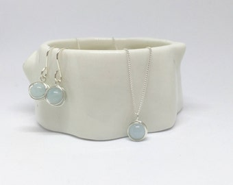 Aquamarine necklace and earring set, 925 sterling silver aquamarine jewellery set, silver aquamarine jewelry set, aquamarine 925 silver set