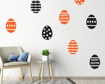 8 Large Easter Egg Wall Decals/Wall Stickers