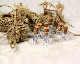 blue wedding favor bag forget me not flower bottle mini blue flower gift rustic wedding gift bags woodland wedding favors bridal shower fj60