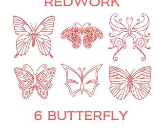 Redwork Butterflies Embroidery Designs. Swirly Butterflies Redwork Machine Embroidery Patterns. Butterfly embroidery. Design butterfly.
