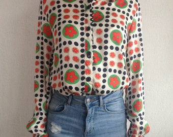 60s Vintage Flower Power Hippie Floral Pattern Red Green Black Summer Blouse for Woman
