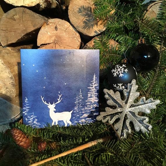 "2 greeting cards ""blue 5"" Christmas handmade watercolor * 2 Greetings cards ""Blue Christmas 5"" watercolor handmade"