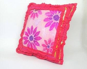 Batik Flower Burst Pillow Cushion Cover One off Decorative Applique