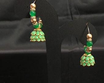 Green Jhumki Earrings - Indian Jewelry - Indian Earrings - Kundan Earrings - Indian Bridal - Pakistani Bridal - Pakistani Earrings - Desi -