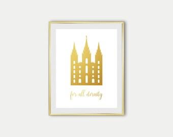 Salt Lake City Temple Digital Print Gold LDS Art Print Wall Decor golden LDS Temple Print art For All Eternity