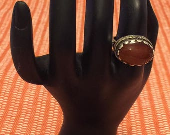 Sterling Silver Handmade Egyptian Ring, Oval Amber Acrylic Stone