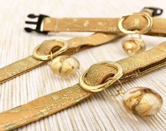 Golden Stone Collar - Small Dog/ Cat Collar - Fancy and Fashionable Collar